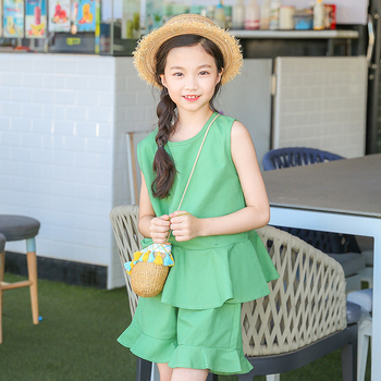 2018 girls summer sets little girls clothes sets outfits ruffles vest + shorts 2 pieces suits black green children clothing sets