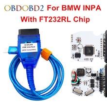 Lo nuevo FT232RL Para BMW INPA K PUEDE INPA K + CAN Con Interruptor para BMW INPA K DCAN Interfaz USB Azul Blanco Envío Gratis