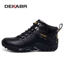 Dekabr/Для мужчин Натуральная кожа водонепроницаемые туристические ботинки плюс Мех открытый Треккинговые ботинки кемпинг восхождение Охота зимние ботинки