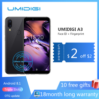 UMIDIGI A3 5.5incell HD+display 2GB+16GB smartphone Android 8.1 12MP+5MP Face Dual 4G Mobile phone FHD+GSM+OTG unlocked cell