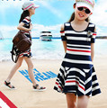 Kids Girls' Summer Dresses 2016 New Cotton Striped Dress for Teenage Girl's Off Shoulder Dress Children Girls Clothes Red Blue