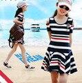 Los niños de Las Niñas Vestidos de Verano 2016 Nuevo Algodón A Rayas Vestido para Adolescentes Chica del Hombro Vestido de Los Niños Niñas Ropa de Color Rojo azul