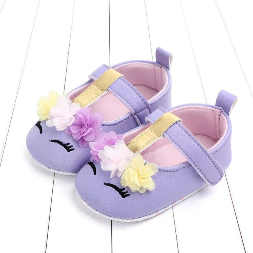First Walkers Unicorn Flower Infant Baby Girl Shoes Pink/White/Purple PU Leather Newborn Soft Bottom Toddler Shoes 0-18M