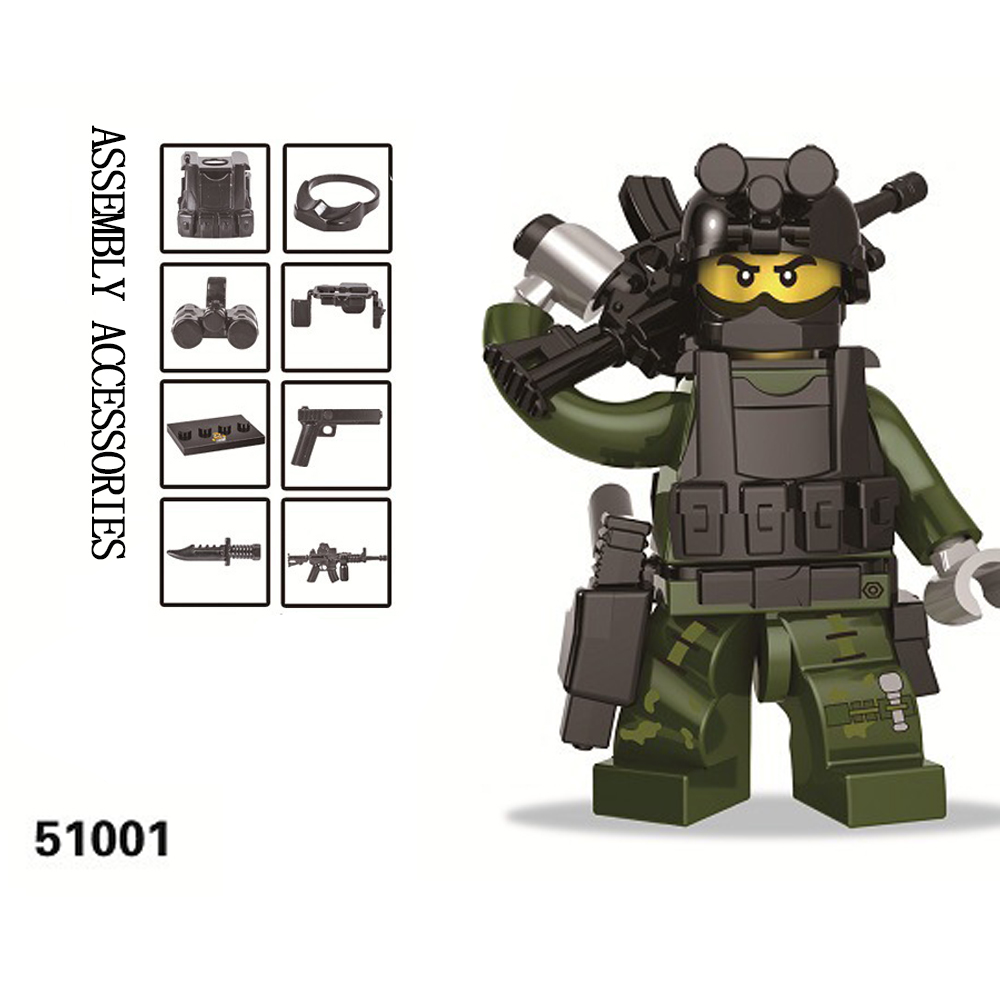 Collection SWAT The Wraith Assault Counter Strike CS Military Assembled Building BlocksToy Army Weapon Toys for Kid Boy Children
