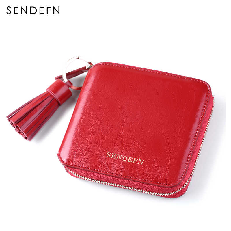 SENDEFN Cowhide Leather Mini Tassel Short Women Wallet Lady Short Pocket Wallet Coin Purse Card Holder Female Wallet 5036-6