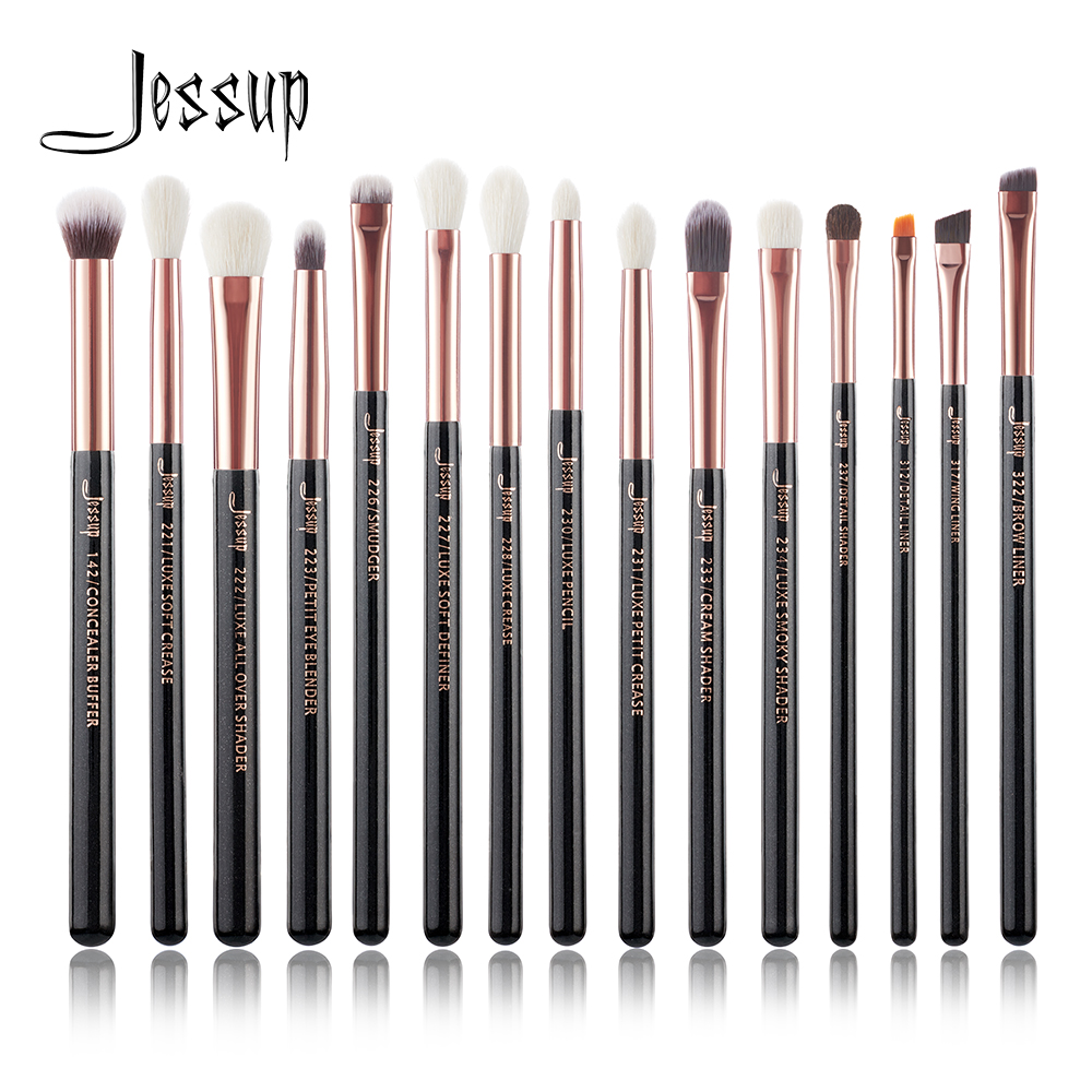 Jessup Marke Rose Gold/Schwarz Professional Make-Up Pinsel Set Make up Pinsel Tools kit Eye Liner Shader natürliche- synthetische haar