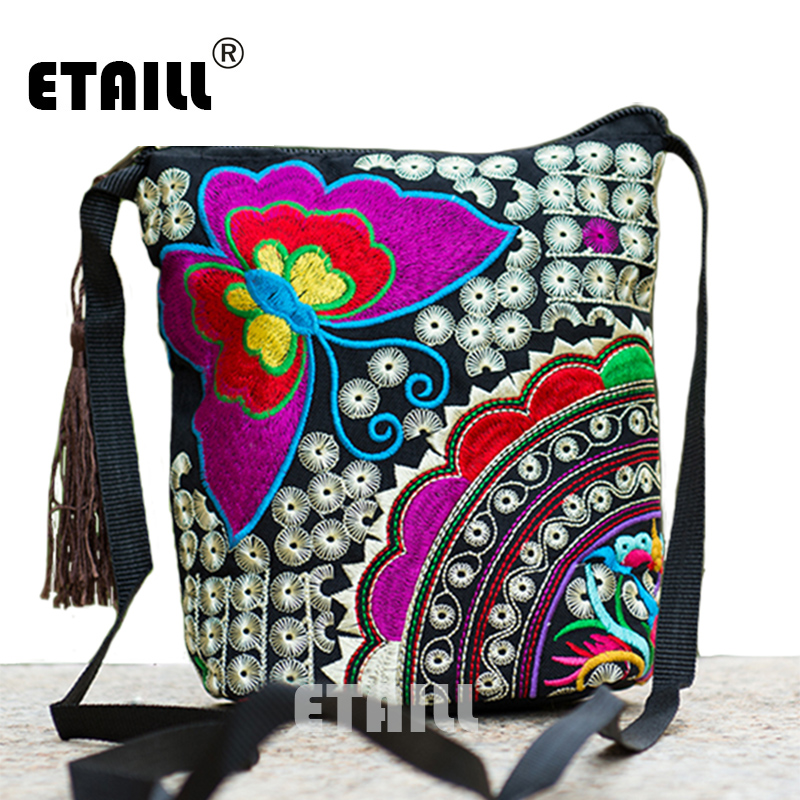 Ethnic Hmong Boho Indian Embroidered Small Shoulder Bag Handmade Fabric Embroidery Logo Luxury Brand Crossbody Bags for Women national embroidered bags embroidery unique shoulder messenger bag vintage hmong ethnic thai indian boho clutch handbag 25 style