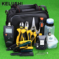 KELUSHI 28 pcs Kit De Ferramentas De Fibra Óptica FTTH Montagem with10mW HS-30 APM820 Medidor de Potência Óptica Localizador Visual de Falhas de Fibra Cutelo