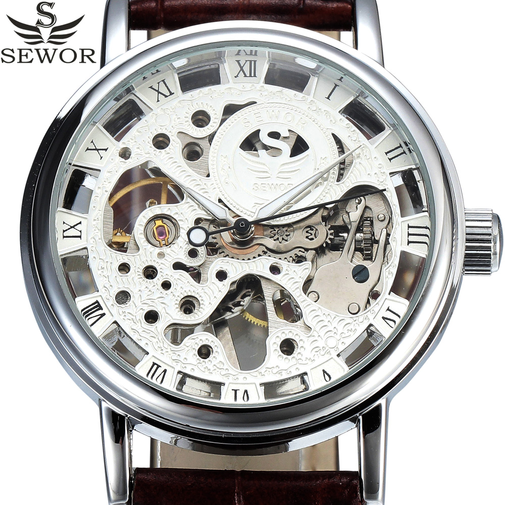 2017 SEWOR Top Brand Luxury Transparent Silver Skeleton Mechanical Watch Men Wristwatches Male Leather Fashion Casual Clock Male 2016 sewor fashion mechanical hand wind men wristwatches steel thin case transparent skeleton leather strap male military watch