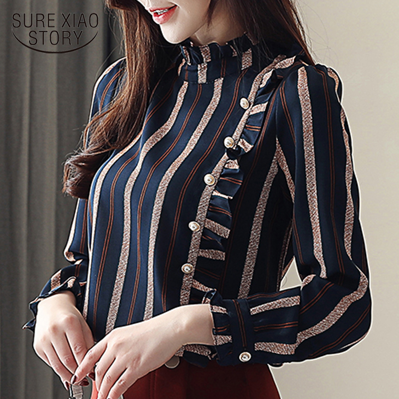 womens tops and   blouses   striped ofiice wear   blouse   long sleeve women   shirts   women chiffon   blouse     shirt   blusas femininas 2262 50