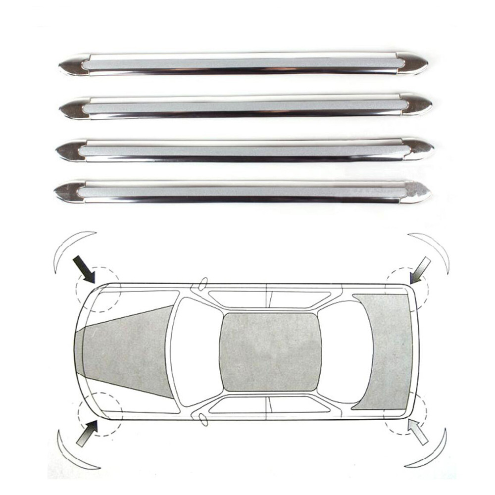4PCS CAR AUTO BUMPER ANTI-SCRATCH STICKER SILVER CHROME CORNER PROTECTOR GUARD STRIPE FRONT REAR COLLISION PROTECTION BAR