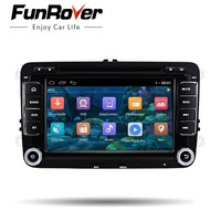 Funrover 7 In Dash Car Stereo 2 Din Navigation GPS Car DVD Player Head Unit Audio Car For VW Jetta Bluetooth Built in Free Can