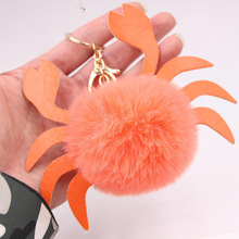 Cute Fluffy Pompom Crab Keychain Faux Rabbit Fur Animal Key Ring Holder Bag Charms Pendant Jewelry For Women Gifts Accessories