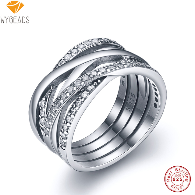 WYBEADS 100% 925 Sterling Silver Sparkling Entwined Rings With Cubic Zircon For Women Ring Finger Famous Original Jewelry Making