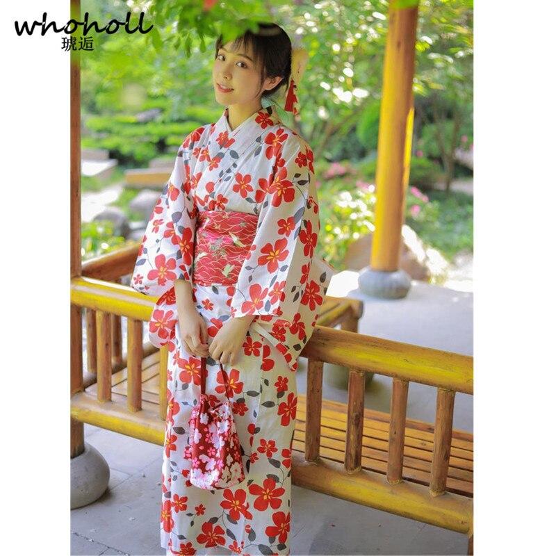2019 nouveau Kimono japonais Cosplay peignoirs en coton traditionnel Kimono japonais fleur Yukata femmes Robe de bain vêtements de nuit floraux