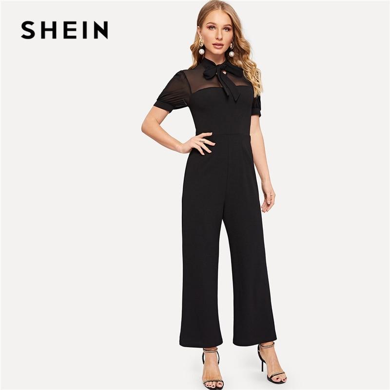 01d2485f36 SHEIN Black Tie Neck Mesh Yoke Wide Leg Tailored Jumpsuit Spring High Waist  Puff Sleeve Stand