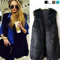 2017 Winter Coat Women Faux Fur Vest Warm Sleeveless Vest 4 Colors Casual Fashion Slim Long Overcoat Women Coat Solid Outerwear