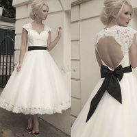 Simple V neck Backless Lace Vesidos De Novia Backless Tea Length A Line Wedding Dresses Black Bow Sash Marriage Bridal Gowns