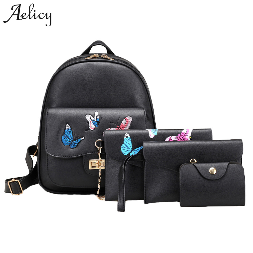 Aelicy 2019 New 4 Pcs/Set Brand Embroidery Butterfly Backpack High Quality PU Leather School Bags For Teenagers Girls 1017Aelicy 2019 New 4 Pcs/Set Brand Embroidery Butterfly Backpack High Quality PU Leather School Bags For Teenagers Girls 1017