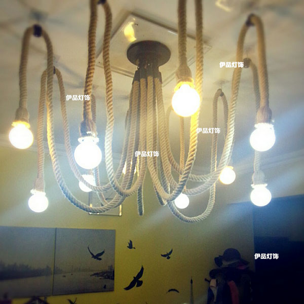 American country clothing store Pendant Lights rope creative retro The heavenly maids scatter blossoms. Internet cafes lamps retro cafe bar long spider lamp loft light industrial creative office the heavenly maids scatter blossoms chandelier
