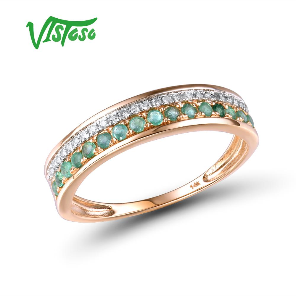 Image 4 - VISTOSO 14K Rose Gold Rings For Lady Genuine Shiny Diamond Fancy Ruby Sapphire Emerald Engagement Anniversary Chic Fine Jewelry-in Rings from Jewelry & Accessories