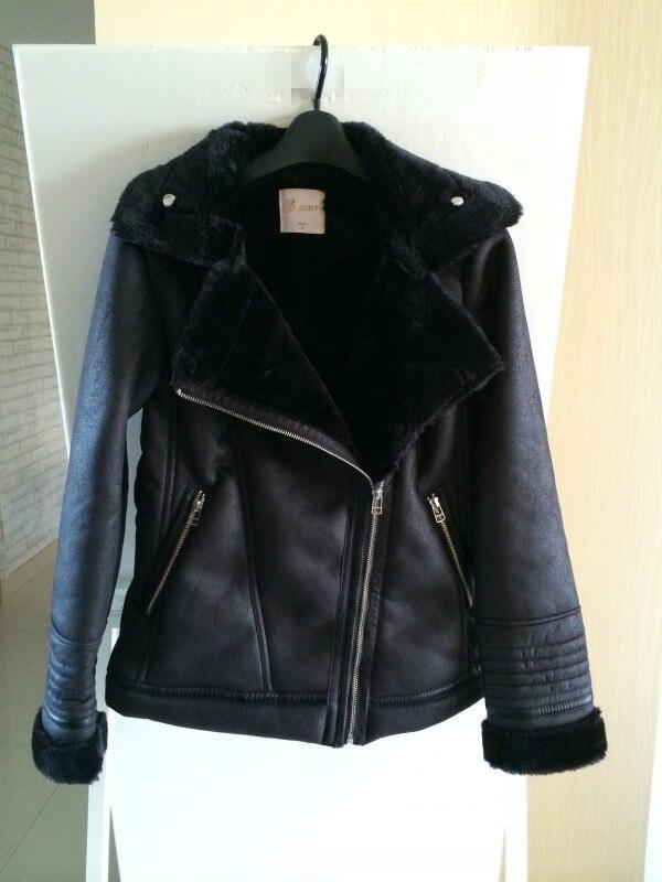 Autumn and winter font b women s b font fashion turn down collar fleece lining black