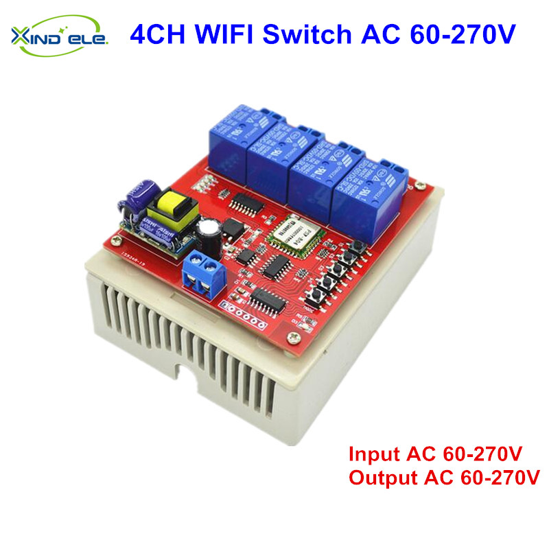 Smart WIFI Switch 4CH 60V 220V 270V AC wi-fi Interruptor Control by APP Directly Control On Off Light switches for Home