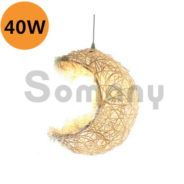 ФОТО Country Style Chandelier 40W Wicker Moon White Light 1.2m Hanging Wire E27 Stainless Steel Wedge For Indoor Installation