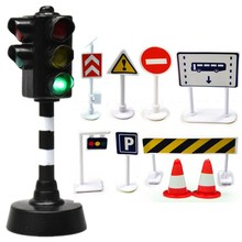 2018 New Arrival 1 Traffic Light Toy and 9 pcs Road signs Roadblocks Electronic Toys Indicator light Model Railroad Kids toys traffic lights toy 24cm road signs children model scene simulation teaching child traffic light signal lamp toy live voice