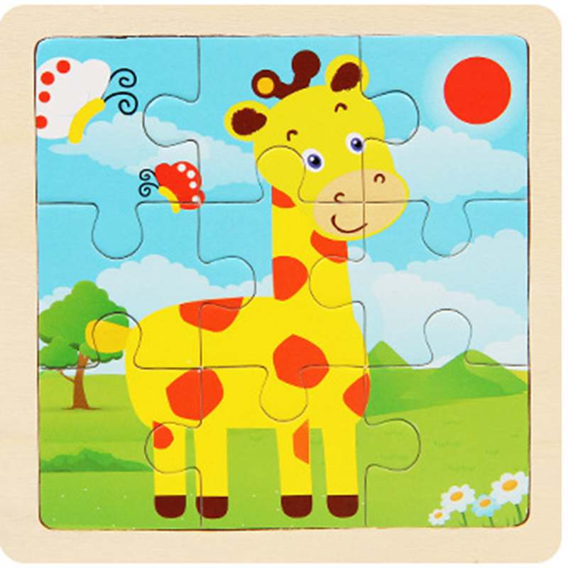 Sale 9pcs Of Wood Puzzle Baby Young Children Early Lessons Learned Intelligence Cartoon Animal Giraffe Jigsaw Puzzle Wooden Toys