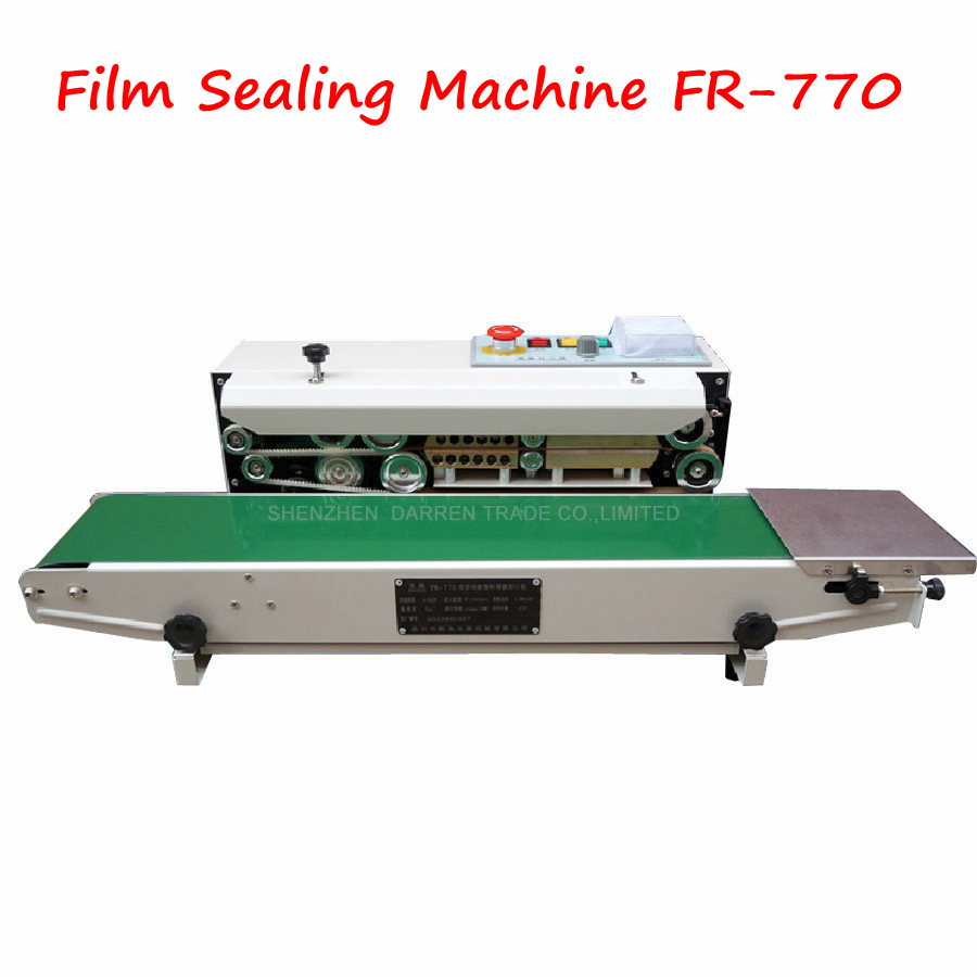 Continuous Film Sealing Machine Plastic Bag Package Machine Band Sealer Horizontal Heating Sealing Packing Machine FR-770