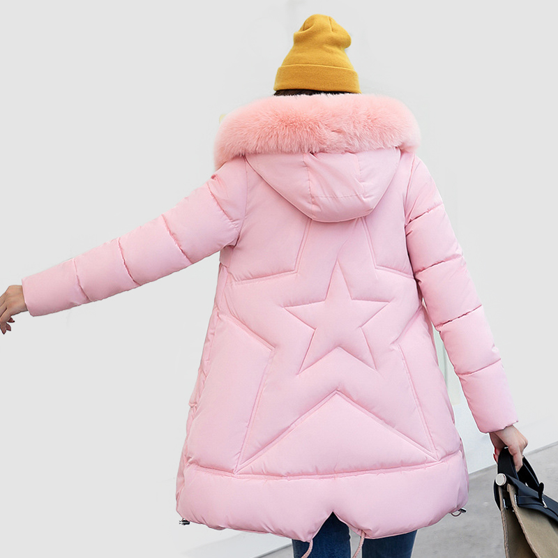 Black winter jacket women slim long cotton-padded hooded Five star jacket parka female wadded jacket outerwear winter coat women winter cotton outerwear women super fur hooded wadded jacket female medium long padded coat thicken slim parka plus size