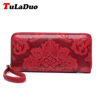 2017 New Fashion Embossing Women Long Wallet Pu Leather Clutch Bags Money Clips Vintage Flower Print