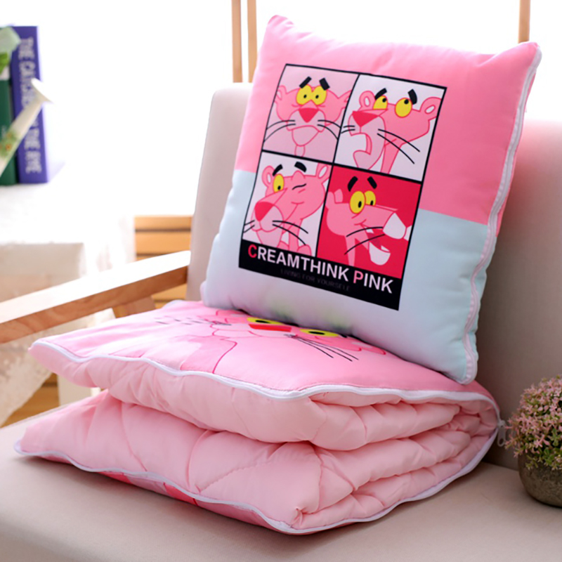 Candice guo plush toy cartoon animal leopard pink panther pillow cushion open to be blanket stuffed toy doll birthday gift 1pc