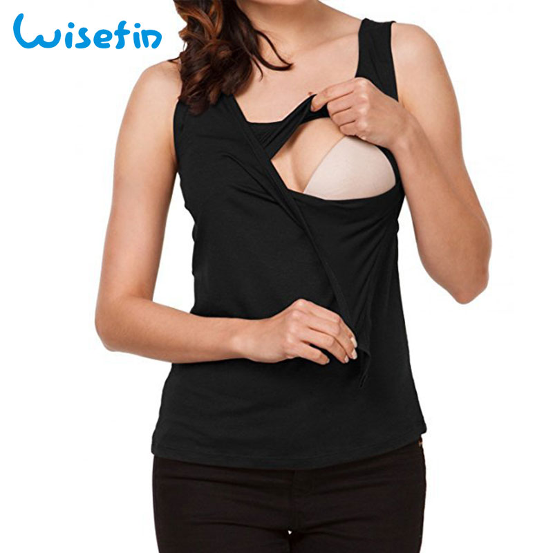 Wisefin Summer Tanks Maternity Clothes Camis Breastfeeding Tops For Pregnant Womens Sleeveless Nursing Tank Tops Maternity Vest