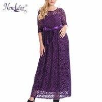 Nemidor Hot Sales Women Elegant O Neck Party Belted Lace Dress Plus Size 7XL 8XL 9XL