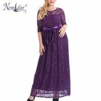 Nemidor High Quality Women Elegant O neck Belted Party Lace Dress Plus Size 7XL 8XL 9XL 3/4 Sleeve Vintage Long Maxi Dress
