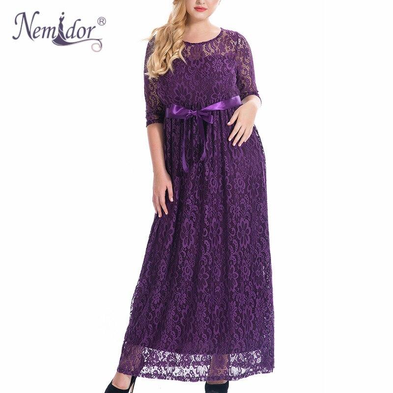 Nemidor High <font><b>Quality</b></font> <font><b>Women</b></font> Elegant O-neck Party Belted Lace Dress Plus Size 7XL 8XL 9XL Half Sleeve Summer Long Maxi Dress