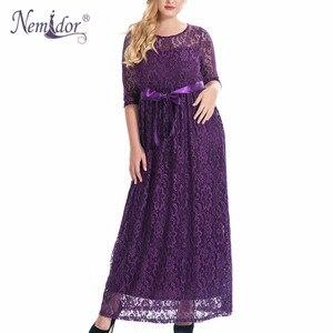 Image 1 - Женское длинное кружевное платье Nemidor, элегантное вечернее винтажное платье макси с круглым вырезом и рукавом 3/4 размера плюс, 7XL, 8XL, 9XL