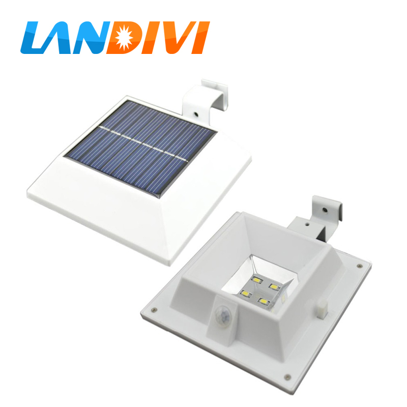 Body induction LED solar powered fence gutter solar light leds garden decoration LED solar Security Lamps light outdoor  hot sale outdoor solar powered 3 led cool white warm white light fence gutter garden yard roof wall lamp light free shipping