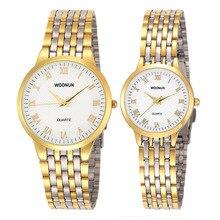 2017 New Couple Watches WOONUN Top Brand Luxury Gold Ultra Thin Quartz