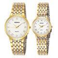 2017 nueva pareja relojes woonun top marca de lujo de oro ultra delgado relojes de cuarzo hombres de las mujeres amantes reloj set de regalo de san valentín