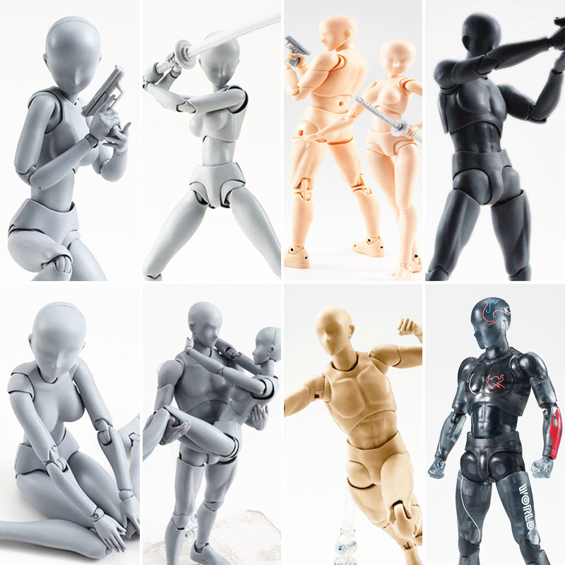 15cm Multi-joint Movable Figures SHFiguarts BODY KUN / BODY CHAN Grey / Orange Color Ver PVC Action Figure Collectible Model Toy