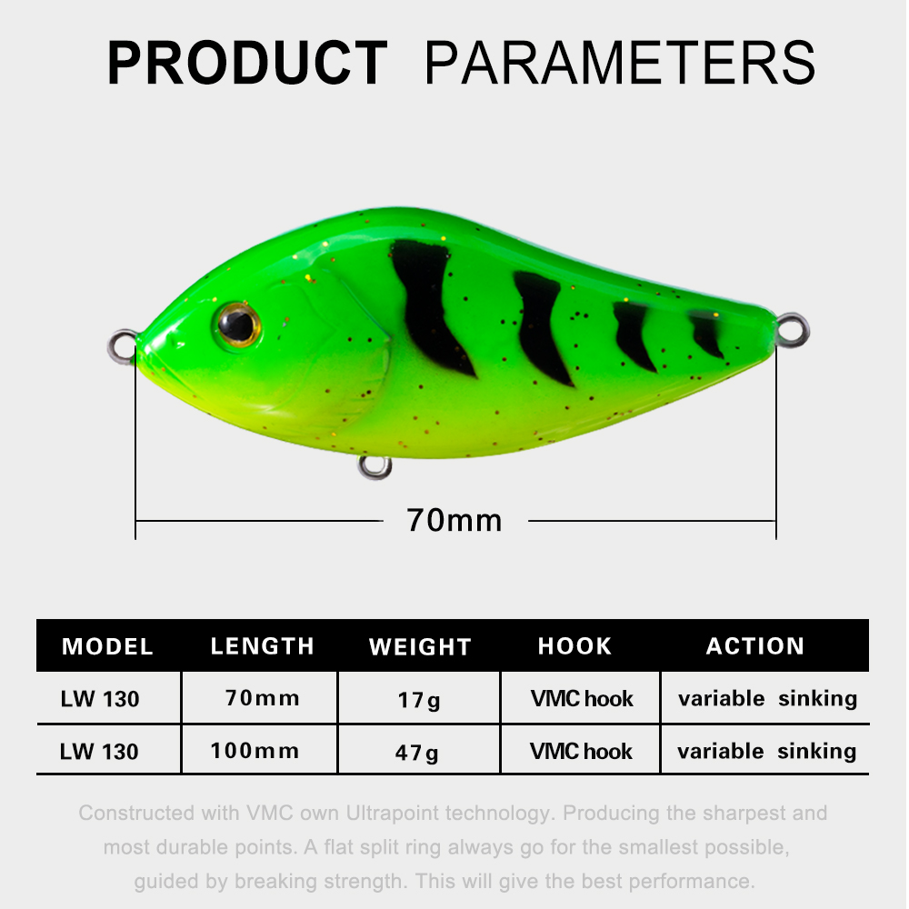 Image 2 - Hunthouse fishing lure pencil VIB jerkbait 7cm/17g 10cm/47g stickbait with VMC hook rainbow color for fishing bass pesca leurre-in Fishing Lures from Sports & Entertainment