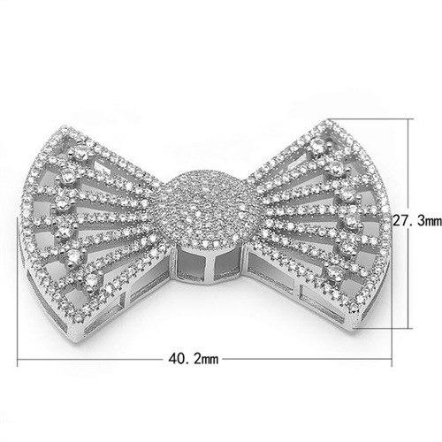 27.3x40.2mm Zircon Micro Pave Bowknot 925 connecteur en argent Sterling pour bricolage perle bijoux pendentif à breloque SLJQ-CZ026 - 4