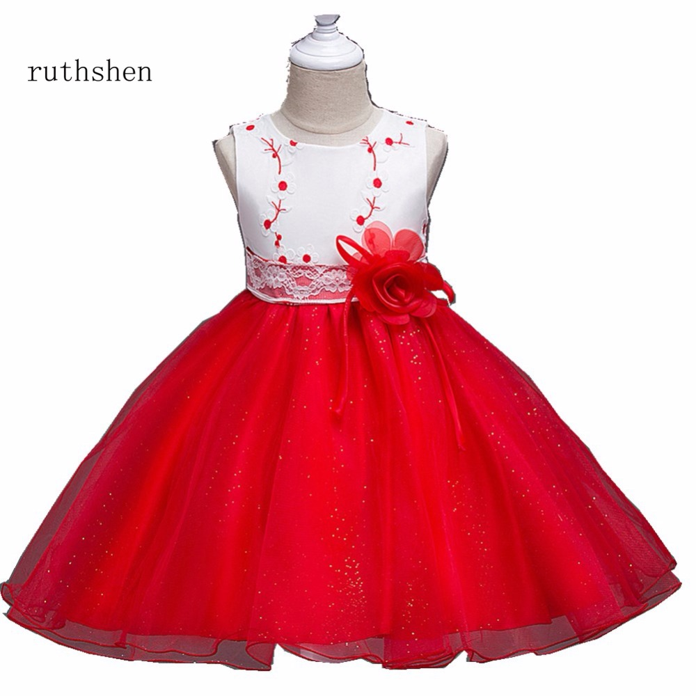ruthshen Stunning Real Photo Embroidery Lace With Bow   Flower     Girl     Dresses   Ball Gown Sleeveless Vestidos De Comunion Sequins 2018