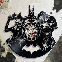Home Living Batman Vinyl Record 12 inch Wall Clock Modern Design Joker Sticker Decorative Quartz Time Clock