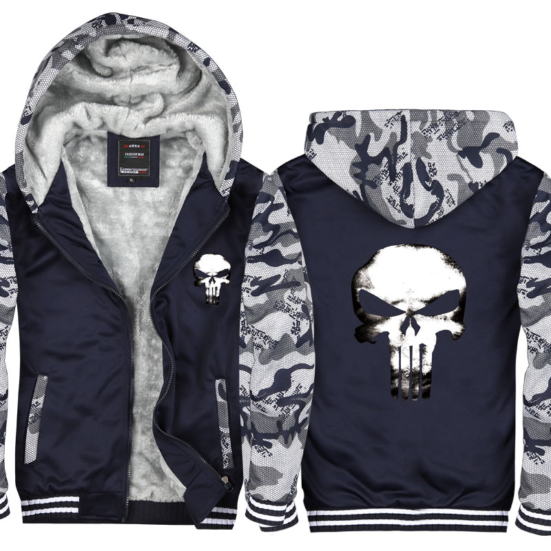 Super Warm the Punisher Hoodie Sweatshirt Men Casual Skull Hooded Coat Cardigan Winter Thicken Zipper Jacket Sweatshirts CM411