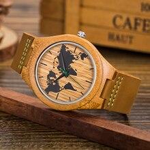 New World Map Mens Genuine Leather Quartz Watch Wood Bamboo Male Wrist Watch Luxury Brand Reloj de Madera Genuine with Gift Box