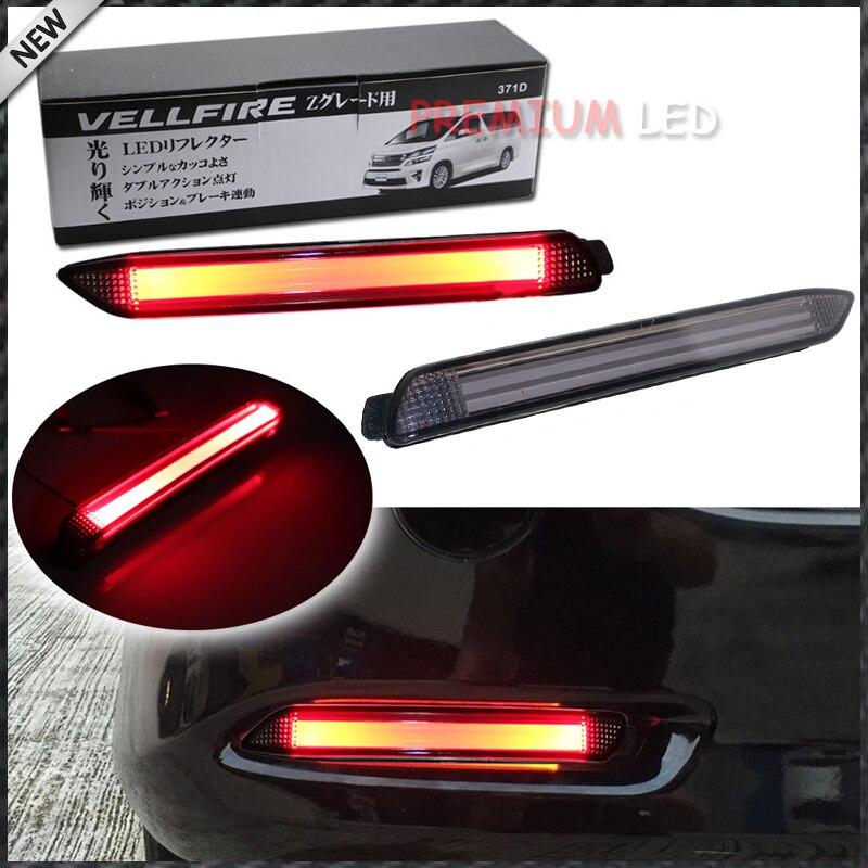 (2) fumé Lentille Rouge 3D Optique Style LED Bumper Réflecteur Lumières Pour Lexus et Toyota Remplacer Actions Pare-chocs Lentille Réfléchissante